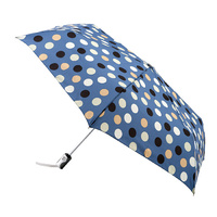 Automatic Mini Maxi Umbrella Blue with Polka Dots
