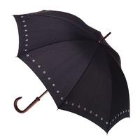 Manual Wood Umbrella Black with Daisies