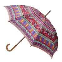 Manual Wood Umbrella Aztec Red