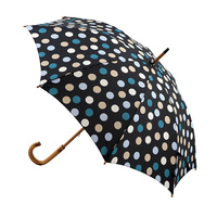Manual Wood Umbrella Charcoal Polka Dots