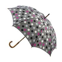 Manual Wood Umbrella Grey Polka Dots