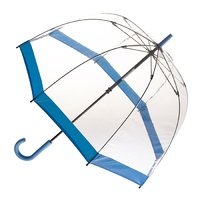 Clear Birdcage Umbrella with Blue Trim
