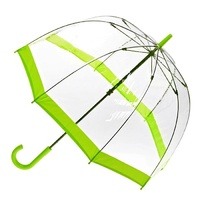 Clear Birdcage Umbrella with Lime Green Trim
