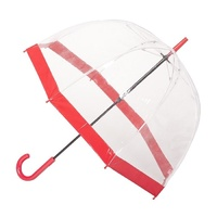 Clear Birdcage Umbrella with Red Trim