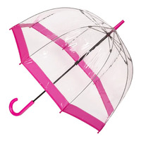 Clear Birdcage Umbrella with Pink Trim