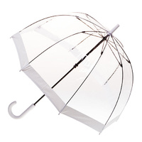 Clear Birdcage Umbrella with White Trim