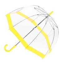 Clear Birdcage Umbrella with Yellow Trim