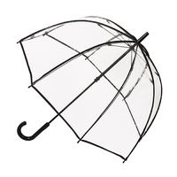 Clear Birdcage Umbrella with Black Piped Edges