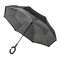 Outside-In Inverted Umbrella Black/Grey