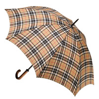 Men's Large Cover Umbrella Tartan Camel Thomson