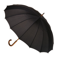 16 Rib Wood Umbrella Black