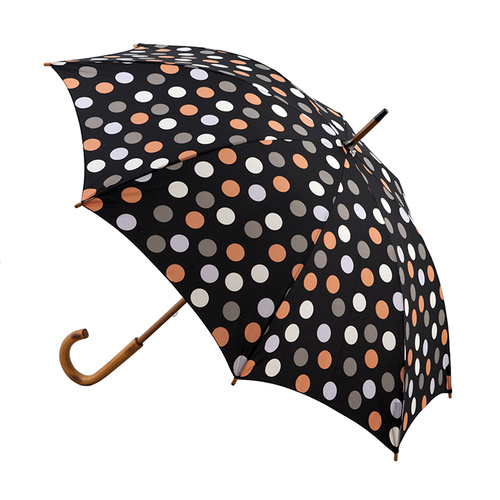 Manual Wood Umbrella Black Polka Dots