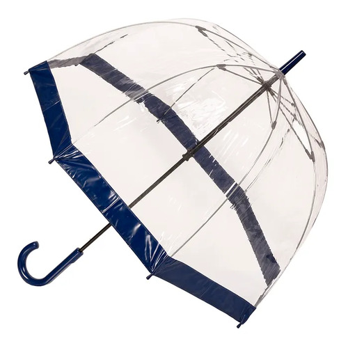 Clear Birdcage Umbrella with Navy Trim