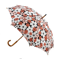 Manual Wood Umbrella Tan and White Flower