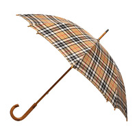 Manual Wood Umbrella Tartan Camel Thomson