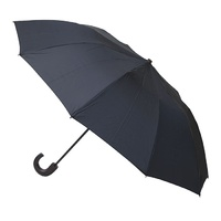 Men's 10 Rib Folding Umbrella Black