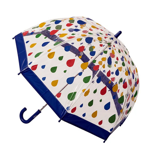 Children's Clear Birdcage Umbrella Raindrops